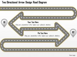 0115 Two Directional Arrow Design Road Diagram Powerpoint Template