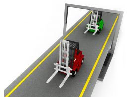 0115 Two Forklift Trucks On Road Stock Photo