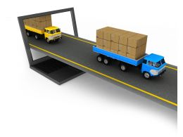 0115 Two Trucks On Road Stock Photo