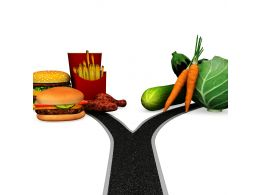 0115 Two Way Decision For Healthy And Junk Food Stock Photo