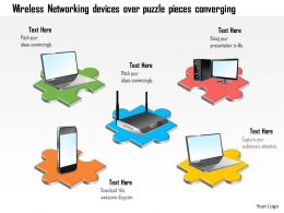 0115 Wireless Networking Devices Over Puzzle Pieces Converging Ppt Slide