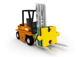 0115 Yellow Puzzle On Truck Stock Photo