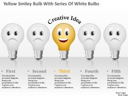0115 Yellow Smiley Bulb With Series Of White Bulbs Powerpoint Template