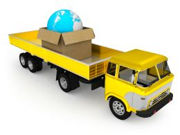 0115 Yellow Truck And Globe In Carton Stock Photo