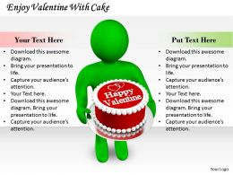 0214 Enjoy Valentine With Cake Ppt Graphics Icons Powerpoint