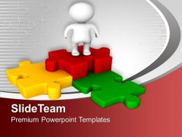 0313 3d Man With Colorful Puzzle Jigsaw PowerPoint Templates PPT Themes And Graphics