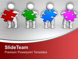 0313 3d Men Holding Colorful Puzzles PowerPoint Templates PPT Themes And Graphics