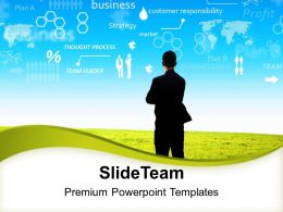 0313 Businessman Standing Facing Factors Growth PowerPoint Templates PPT Themes And Graphics