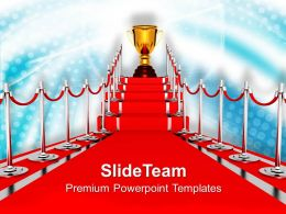 0313 Golden Trophy On Red Carpet Winner PowerPoint Templates PPT Themes And Graphics