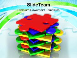 0313 Stack Of Puzzles Pieces Business Concept PowerPoint Templates PPT Themes And Graphics