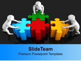 0313 Team Pushing Puzzle For Solution PowerPoint Templates PPT Themes And Graphics