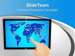 0313 Touch Screen And Hand Pushing E Mail PowerPoint Templates PPT Themes And Graphics