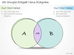0314 Business Ppt Diagram 3d Single Staged Venn Diagram Powerpoint Templates