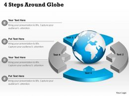 0314 Business Ppt Diagram 4 Steps Around Globe Powerpoint Template