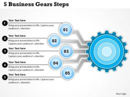 0314 Business Ppt Diagram 5 Business Gears Steps Powerpoint Template