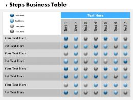 0314 Business Ppt Diagram 7 Steps Business Table Powerpoint Template