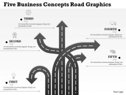0314 Business Ppt Diagram Five Business Concepts Road Graphics Powerpoint Template