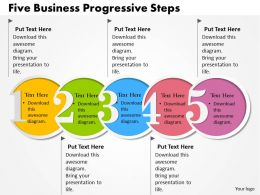 0314 Business Ppt Diagram Five Business Progressive Steps Powerpoint Template
