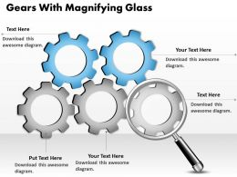0314 Business Ppt Diagram Gears With Magnifying Glass Powerpoint Template