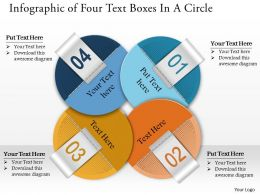 0314 Business Ppt Diagram Infographic of Four Text Boxes In A Circle Powerpoint Template