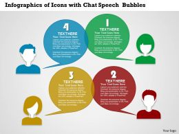 0314 Business Ppt Diagram Infographics Of Icons With Chat Speech Bubbles Powerpoint Template