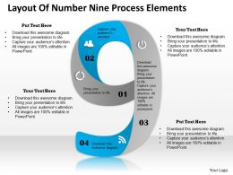 0314 Business Ppt Diagram Layout Of Number Nine Process Elements Powerpoint Template