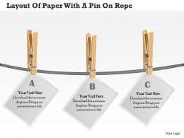 0314 Business Ppt Diagram Layout Of Paper With A Pin On Rope Powerpoint Template