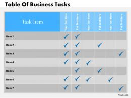 0314 Business Ppt Diagram Table Of Business Tasks Powerpoint Template