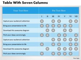 0314 Business Ppt Diagram Table With Seven Columns Powerpoint Template