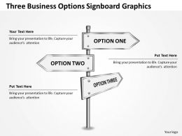 0314 Business Ppt Diagram Three Business Options Signboard Graphics Powerpoint Template