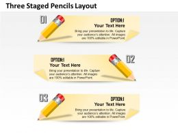 0314 Business Ppt Diagram Three Staged Pencils Layout Powerpoint Template