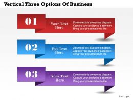 0314 Business Ppt Diagram Vertical Three Options Of Business Powerpoint Template