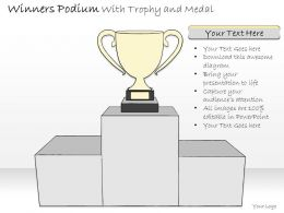 0314 Business Ppt Diagram Winners Podium With Trophy Powerpoint Template