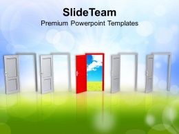 0413 Red Door Symbolizing Door Of Solution PowerPoint Templates PPT Themes And Graphics