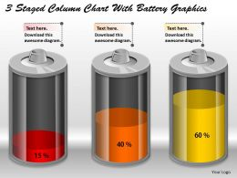 0414 3 Staged Column Chart With Battery Graphics PowerPoint Graph