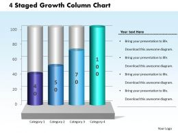 0414 4 Staged Growth Column Chart PowerPoint Graph