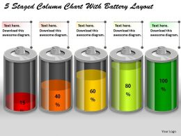 0414 5 Staged Column Chart With Battery Layout PowerPoint Graph