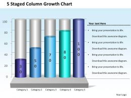 0414 5 Staged Column Growth Chart PowerPoint Graph