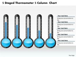 0414 5 Staged Thermometer 5 Column Chart PowerPoint Graph