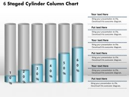 0414 6 Staged Cylinder Column Chart PowerPoint Graph