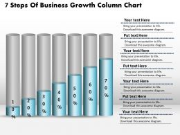 0414 7 Steps Of Buisness Growth Column Chart PowerPoint Graph