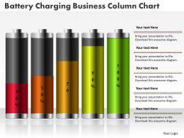 0414 Battery Charging Business Column Chart PowerPoint Graph