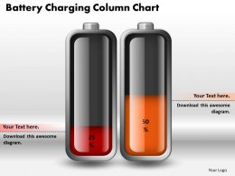 0414 Battery Charging Column Chart PowerPoint Graph