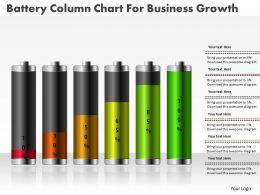0414 Battery Column Chart For Business Growth PowerPoint Graph