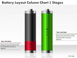 0414 Battery Layout Column Chart 2 Stages PowerPoint Graph