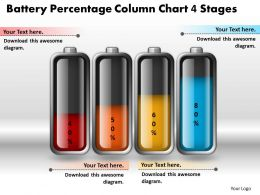 0414 Battery Percentage Column Chart 4 Stages PowerPoint Graph