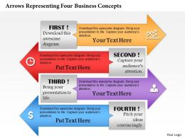 0414 Business Consulting Diagram Arrows Representing Four Business Concepts Powerpoint Slide Template