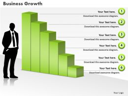 0414 Business Man With Column Chart Powerpoint Graph