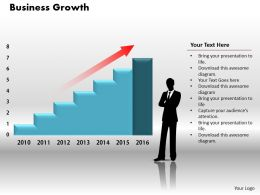 0414 Business Person With Column Chart Powerpoint Graph