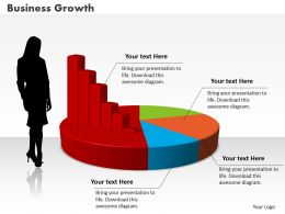 0414 Business Women With Column Pie Chart Powerpoint Graph